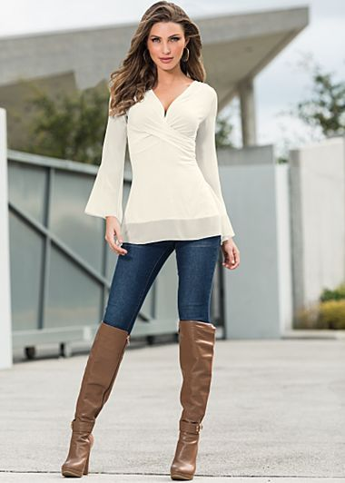 Slimming stretch jegging | Sizes XS - XL | Detail over the knee boots available in full and half sizes 6 - 9, 10