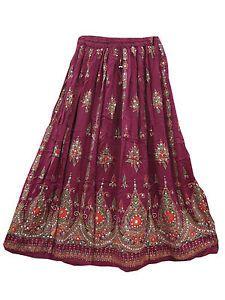 Sequin With Ankle Bells TIE String Skirt Lehenga Print Long Skirts | eBay