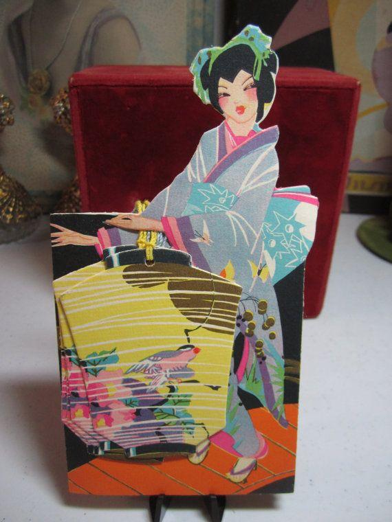 Vintage 1920's-30's unused die cut gold gilded Buzza bridge score pad with 4 die cut tallies pretty asian lady colorful robe paper lantern