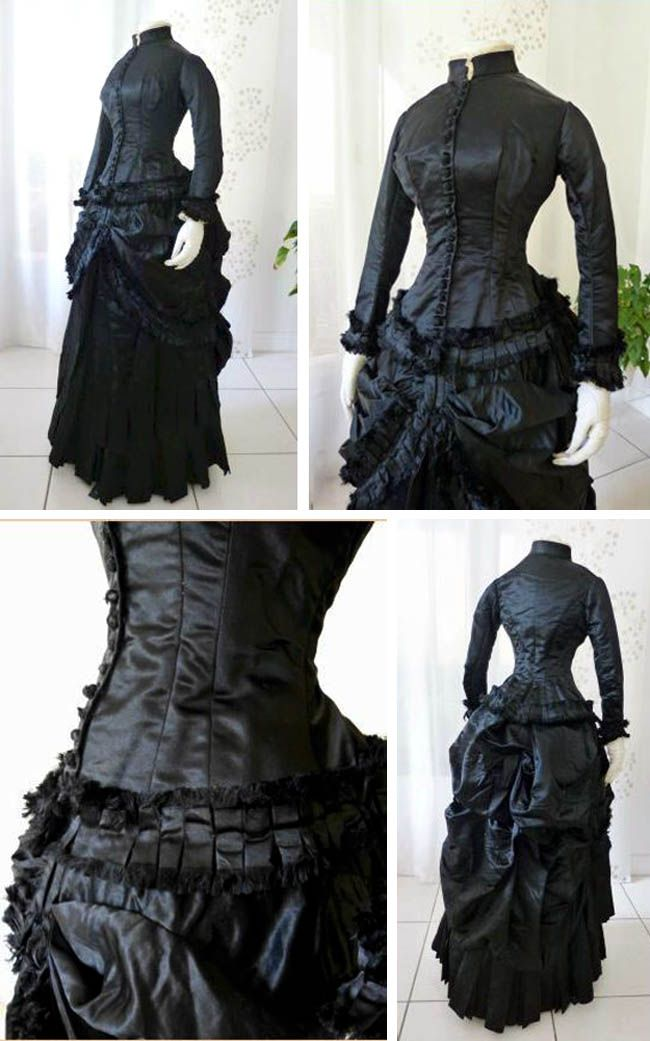 Day dress, ca. 1883-84. Ink-black Duchesse satin. Basque bodice trimmed with…