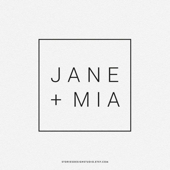 Jane + Mia // premade logo design // modern minimalist, modern logo, blog logo, branding, minimalist logo, fashion logo, personal logo