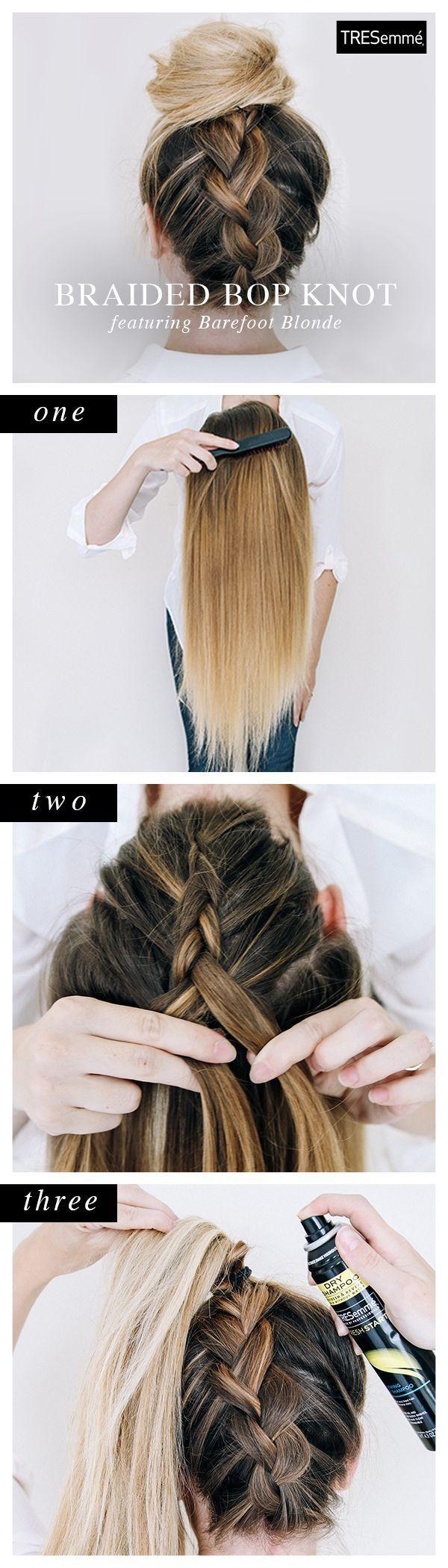 Braided Bop Knot Updo diy long hair updo braids diy hair diy bun hairstyles hair tutorials easy hairstyles