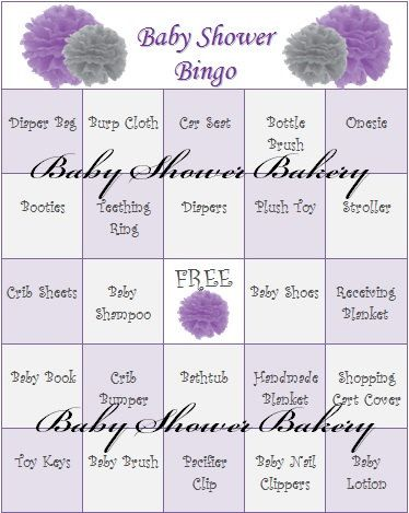 Purple Baby Shower Bingo Purple Baby Shower by BabyShowerBakery, $15.00