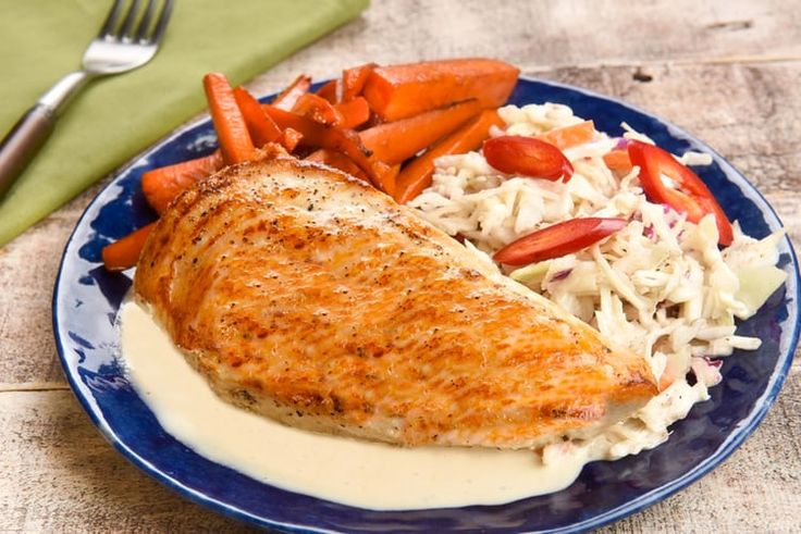 Chicken with Alabama-Style BBQ Sauce and honey-glazed carrots and cole slaw.