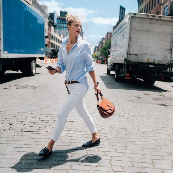- Wear itnow with bright white jeans and a light blue button-down, allowing the bag's neutral hue to take center stage. Looking for a little more polish? Finish the look withleather loafers and a brown belt.