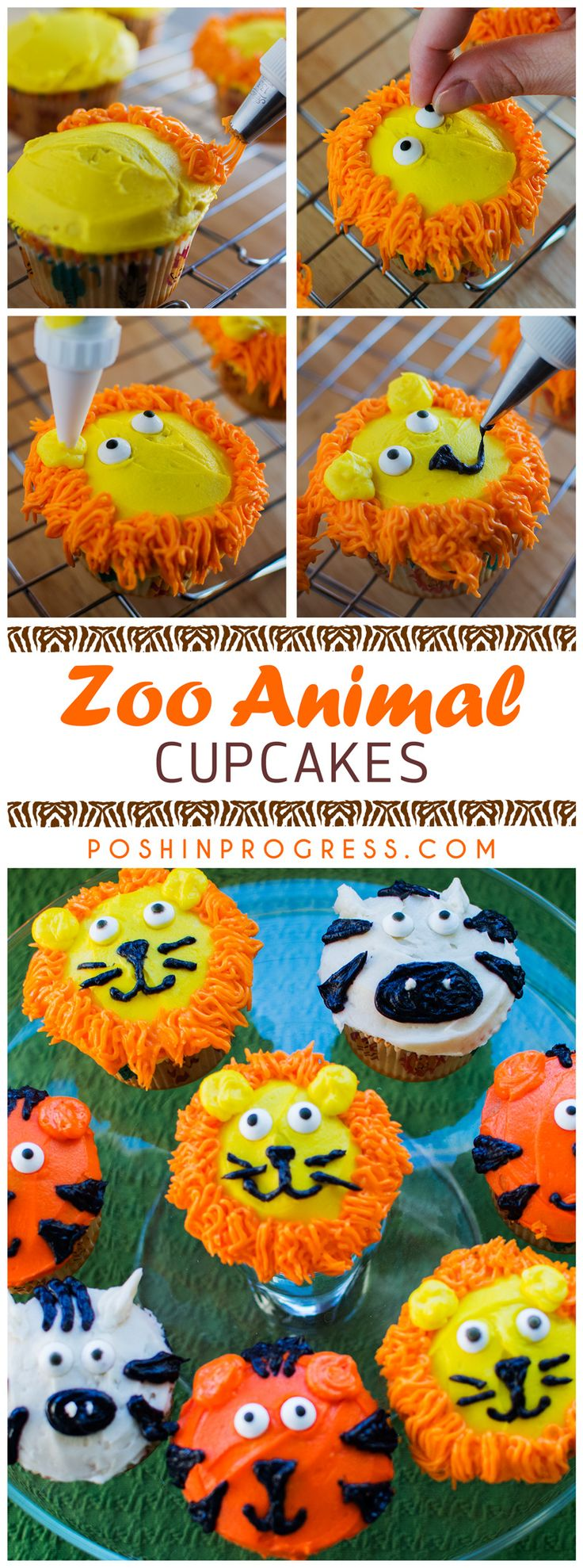 Lions and tigers and...zebras? I decided to try my hand at cake decorating. So with a little YouTube help and Pinterest inspiration, I created zoo animal cupcakes for my Giada's 2nd birthday. How'd I do?