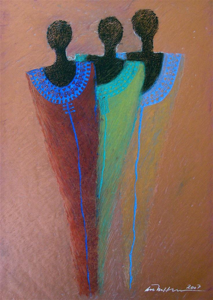 Åse Margrethe Hansen/Trio, 2007. Oil pastel on paper