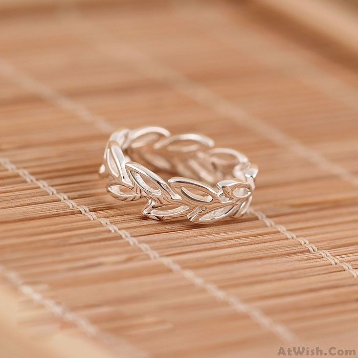Wow~ Awesome Silver Olive Plant Flowers Opening Rings! It only $16.99 at www.AtWish.com! I like it so much<3<3!