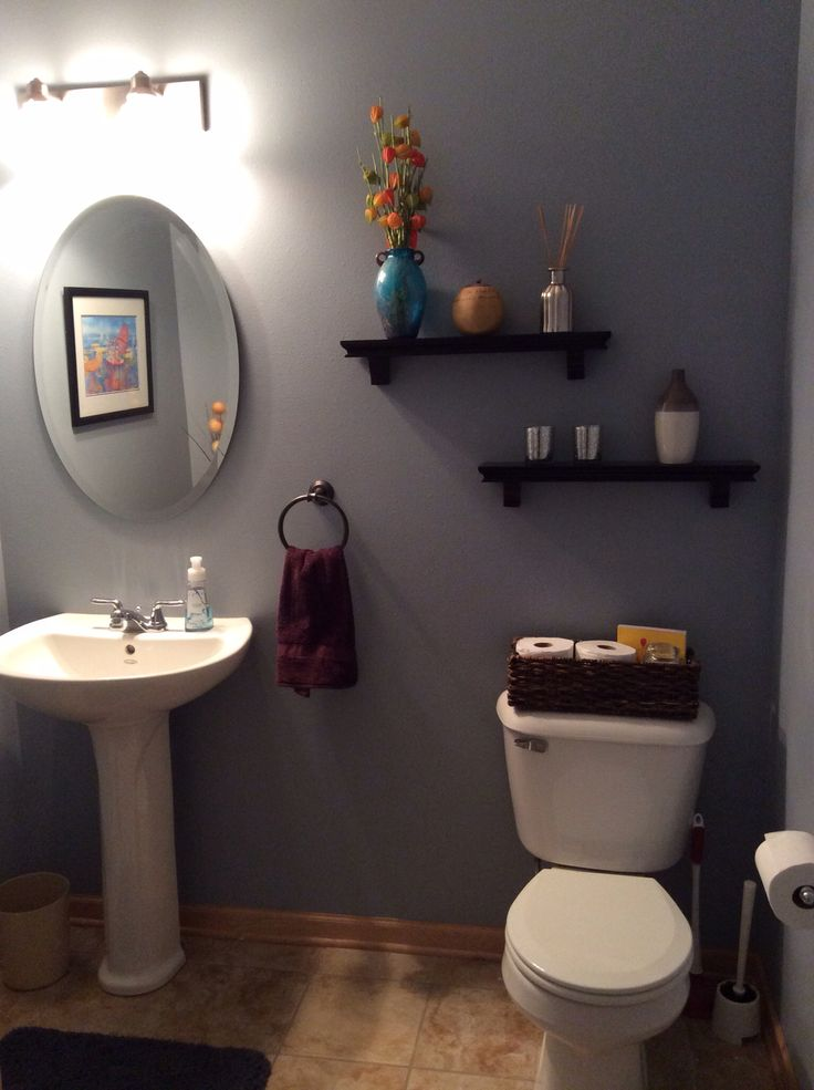 Behr Marquee Intercoastal Gray Wall Color Bathroom