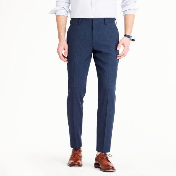 J.Crew Ludlow Traveler Suit Pant In Italian Wool ($250) ❤ liked on Polyvore featuring men's fashion, men's clothing, men's pants, men's dress pants, mens elastic waist pants, mens zipper pants, mens slim dress pants, mens lined pants and mens zip off pants