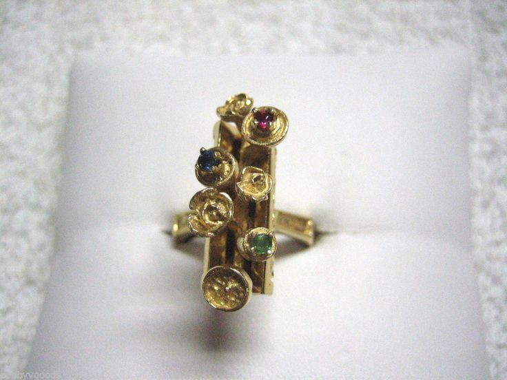 VINTAGE 14K YELLOW GOLD UNUSUAL PINK GREEN BLUE GEMSTONE MOTHER'S RING SIZE 6.75