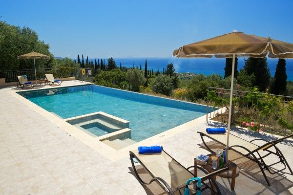 """A formidable terrace, with spectacular panoramic views and a sparkling swimming pool with """"acres"""" of space set the scene."""