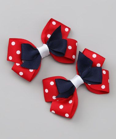 Take a look at this Navy & Red Polka Dot Silly Stack Clip - Set of Two by Bitty Bop Bows on #zulily today!