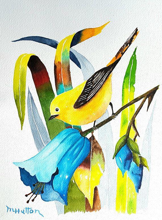 Original Watercolor Painting Flowers Bird Painting Yellow