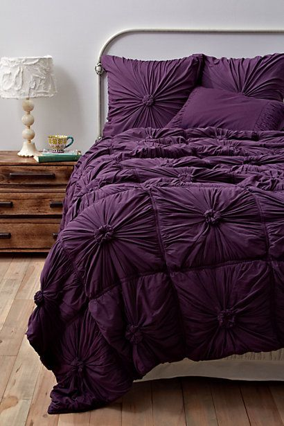Anthropologie Bedding: Colors Purple, Purple Beds, Deep Purple, Dreams, Beds Spreads, Bedspreads, Purple Rooms, Rosette Quilts, Bedrooms Ideas