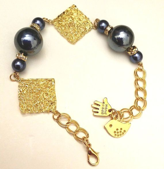 square gold color Howlite double linked bracelet / Blue by ISUS1
