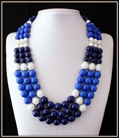 Beautiful 3 strand Riverstone and Jade Necklace Unique by Fagiano, $90.00