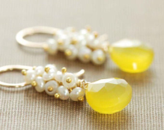 Amarillo pendientes de piedras preciosas 14k oro relleno perla racimos, pendientes oro, aubepine
