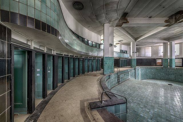 Abandoned Art Deco Swimming Pool, France.