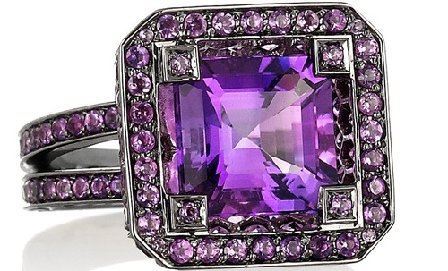 #With This Ring�  When is the last time you have seen something as beautiful as this ring? �Jaw dropping, show stopping, breath taking � there are no words. �Stay tuned for much much more! �  <3�t.i.m.  Solange Azagury-Partridge  Cup 18-karat blackened white gold amethyst ring  top women #2dayslook #new #topfashion  www.2dayslook.com