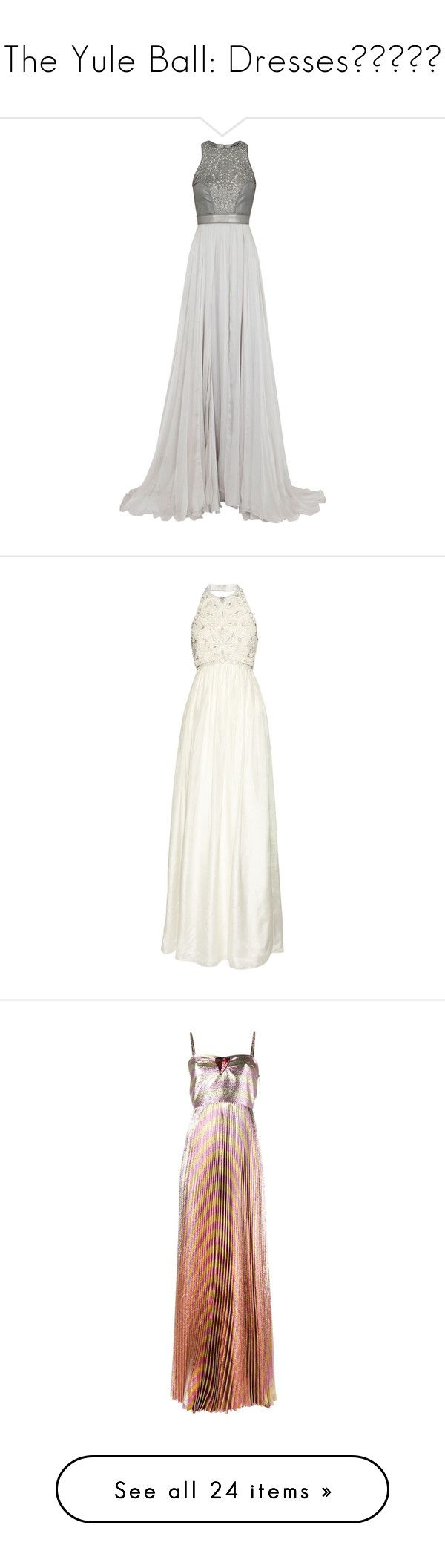"""""""The Yule Ball: Dresses💚💙💛❤️"""" by nattiexo ❤ liked on Polyvore featuring dresses, gowns, vestidos, long dresses, grey dress, grey evening gowns, grey gown, gray evening gown, long grey dress and wedding"""