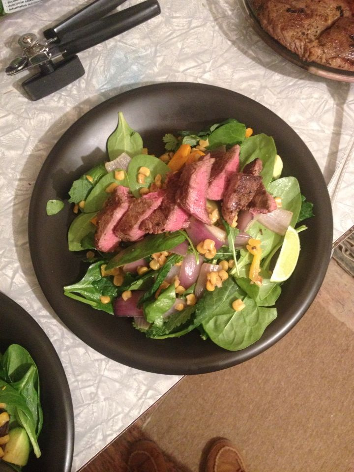 Mexican steak salad totally not how it was supposed to be done due to a lack of ingredients! #IQS8WP
