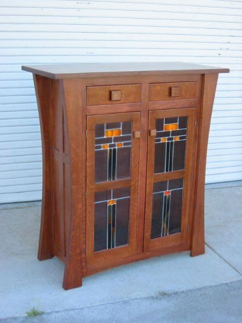 Custon Made Display Cabinet with Leaded Glass Doors | Arts & Crafts | Bungalow