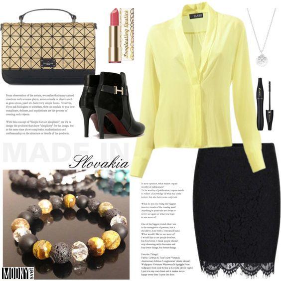 čierna-čipkovaná-sukňa-žltá-hodvábna-dámska-blúzka-náramok-kabelka-čižmy