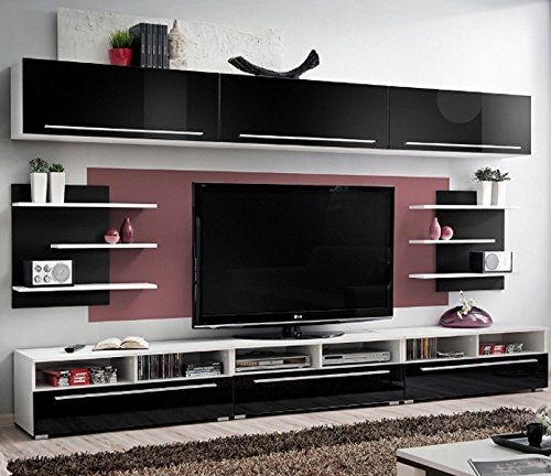 cool black and white tv wall units modular furniture small living room | 92 best Wall tv unit images on Pinterest | Tv walls ...