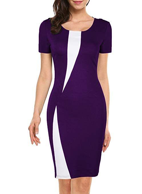 eb7bf25e924 WOOSEA Women s Short Sleeve Colorblock Slim Bodycon Business Pencil Dress  Purple+White