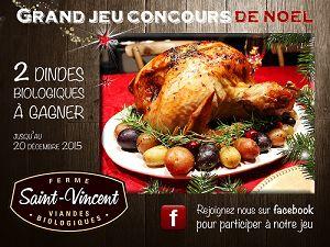 Participez à notre concours: courez la chance de gagner une dinde biologique pour votre repas de Noël! Tirage le 20 décembre