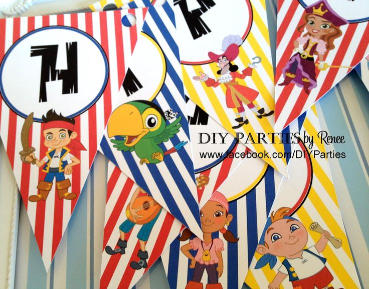 Table bunting - Jake & the Neverland Pirates.  Find us on Facebook: www.facebook.com/DIYParties