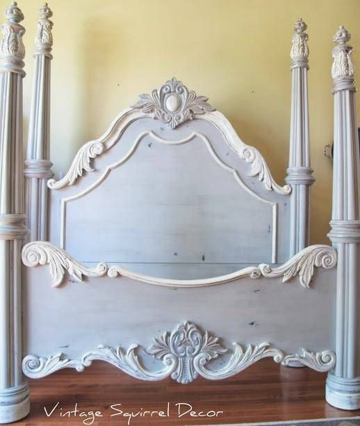 Love this headboard by on {The Inspired Nester} by {Vintage Squirrel Decor}! The lighter detailing and the metallic accents make it absolutely stunning! #PaintedFurniture #GreyPaintedBed