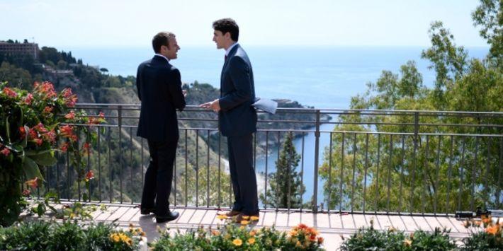 Emmanuel Macron et le Canadien Justin Trudeau lors du G7 la semaine dernière.
