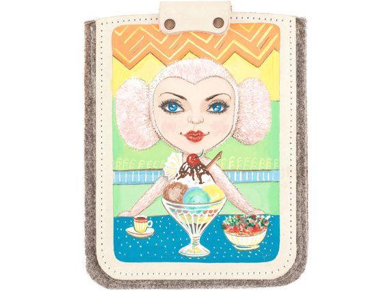 Girl with Ice cream handpainted felt case for iPad iPad by Ptucha #caso #cuero #ipad #ipad #mini #manga #pintado #a #mano #artesanal #hecho #a #mano #chica #tableta #sentido #étui #cuir #ipad #Mini #iPad #housse #peint #à #la #main #artisanale #fille #tablette #feutre #fait #main #geval #leer #ipad #ipad #mini #sleeve #handbeschilderd #handgemaakte #meisje #tablet #vilt