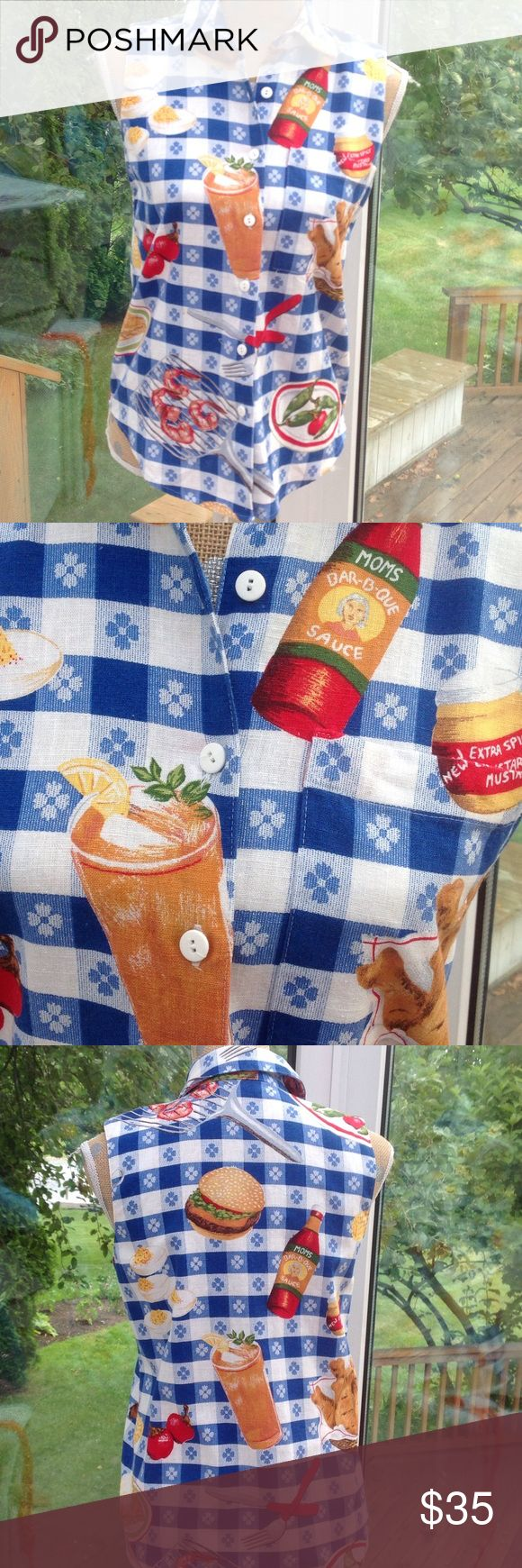 "Bar B Que Blouse. Blue and white checkered background with various BBQ foods on i. Deviled eggs, hamburger, grilled shrimp, apple pie and fried chicken. Features one pocket with chicken on it. Cotton. No size indicated, but I'm guessing a small. Pit to pit is 18"" laying flat. Shoulder to hem is 25"". Sharon Young Tops Blouses"