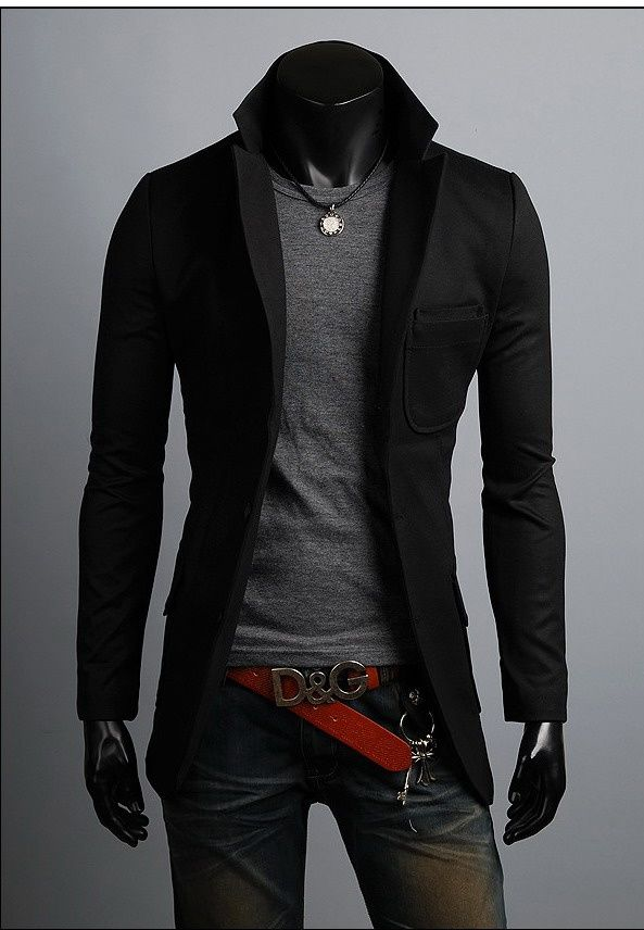 KOREAN Mens Slim Fit Premium One Button Jacket Blazer