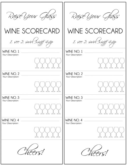 wine tasting score cards - Google Search                                                                                                                                                                                 More