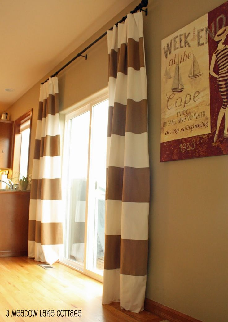 Tan And White Striped Curtains/drapes. Adds Pattern To An Entrance.