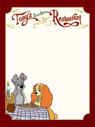Journal Card - MK - Tony's Town Square Restaurant - Lady and the Tramp - 3x4…