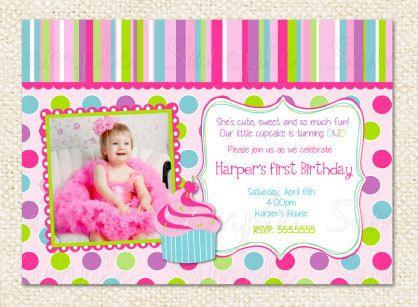 Cupcake First Birthday Invitations by LollipopPrints on Etsy, $10.00