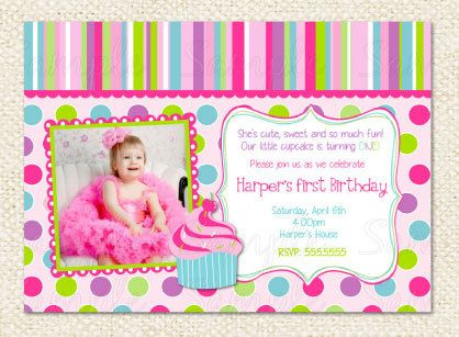 Cupcake First Birthday Invitations by LollipopPrints on Etsy, $10.00