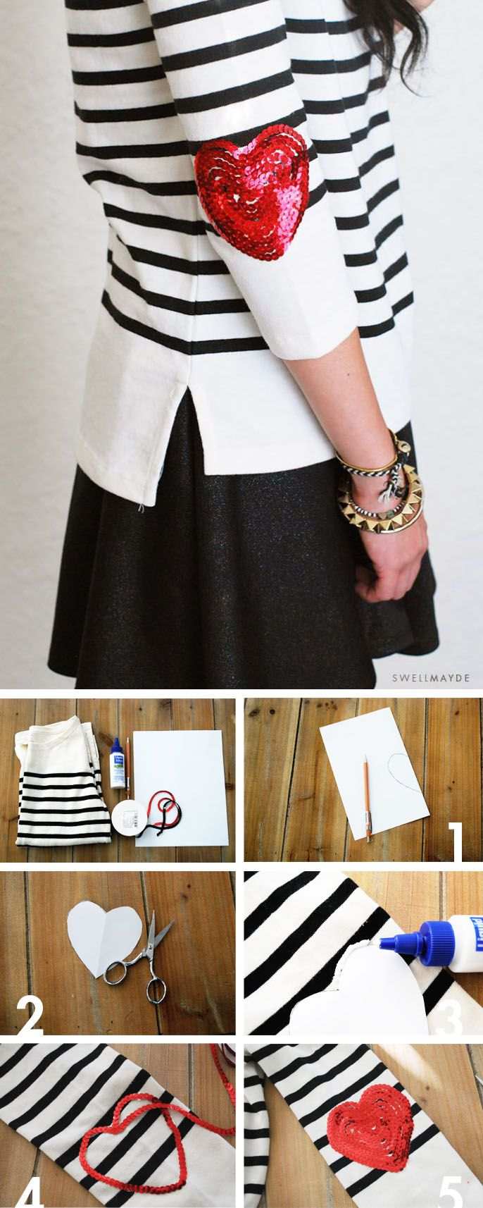 Diy sequin elbow patch sweater for women
