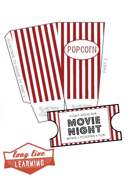 Popcorn Box Template and Movie Night Stub Printables