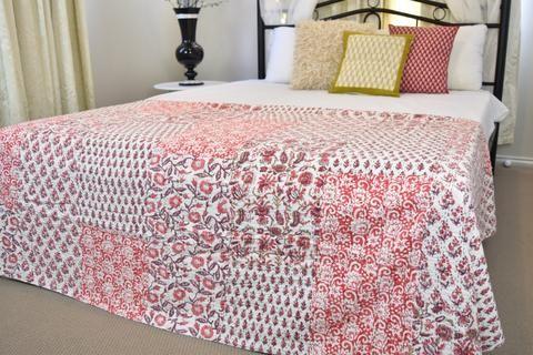 Pink Hand Block Patchwork Kantha Quilt