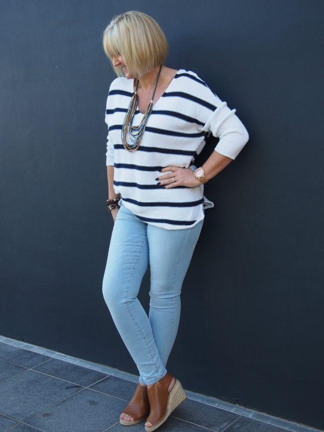 Katies New Cotton Collection / Stripe V-neck Cotton Knit $49.95 / 00103378  |  Slim Cotton Ultimate $49.95 / 00103443