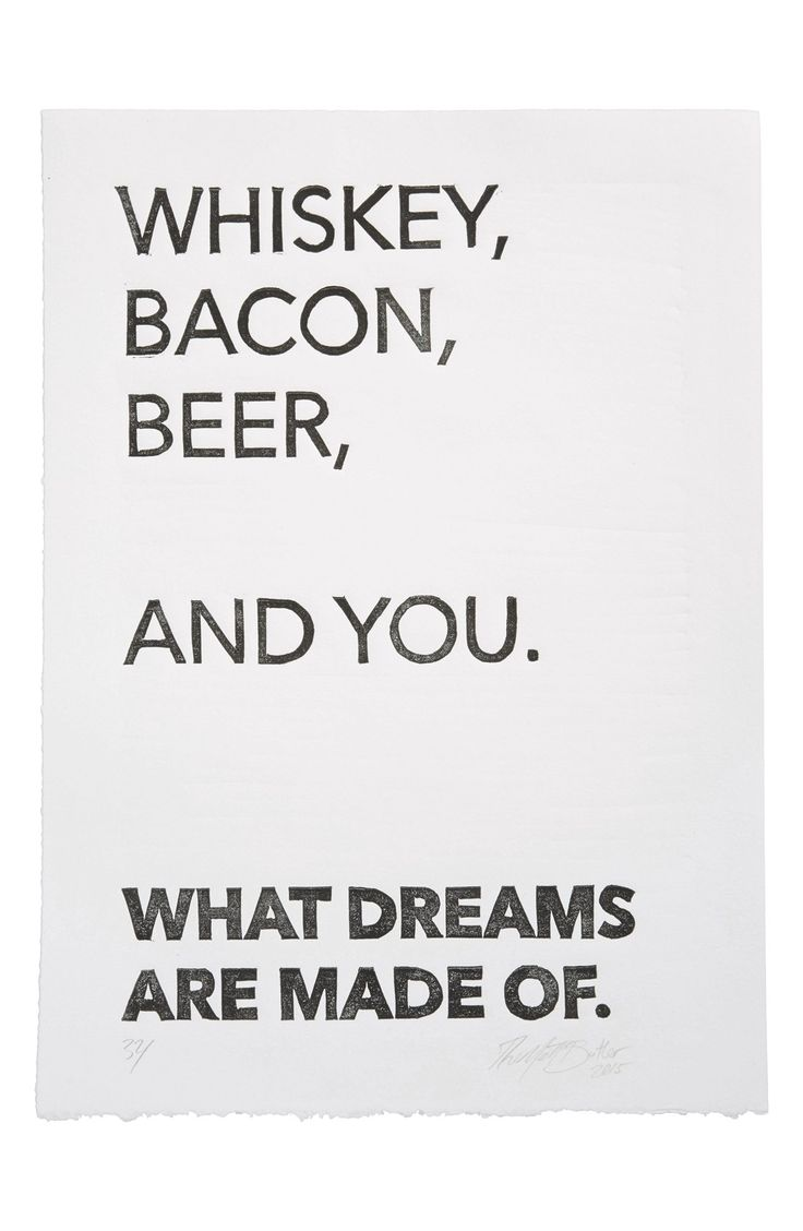 "This hilarious piece wall art would be the perfect addition to his 'man cave'. ""Whiskey, bacon, beer, and you. What dreams are make of""."