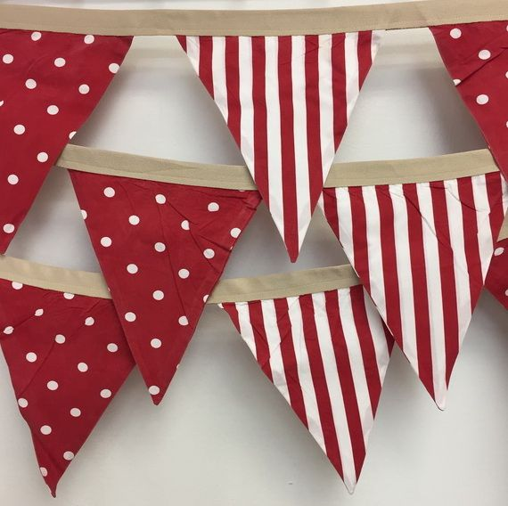 red and white polka stripe bunting