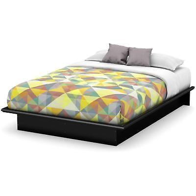 Full Platform Bed Molding 54in Contemporary Mattress Foundation Bedroom Black