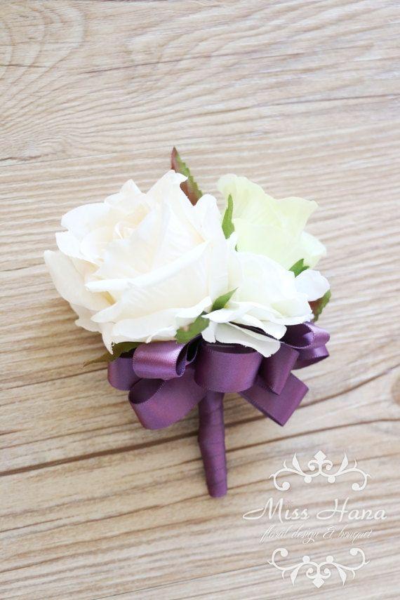 Ivory White Rose Wrist Corsage Purple ribbon wrist corsage